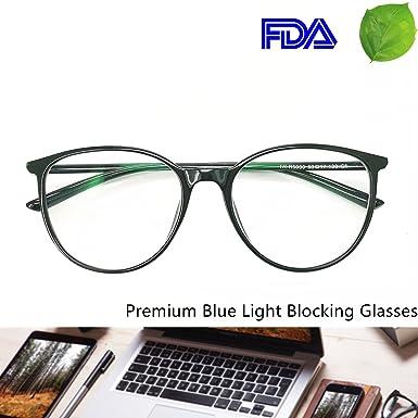 Reading Glasses   Blue Light Blocking   Round Women Men (Black, 0.00)