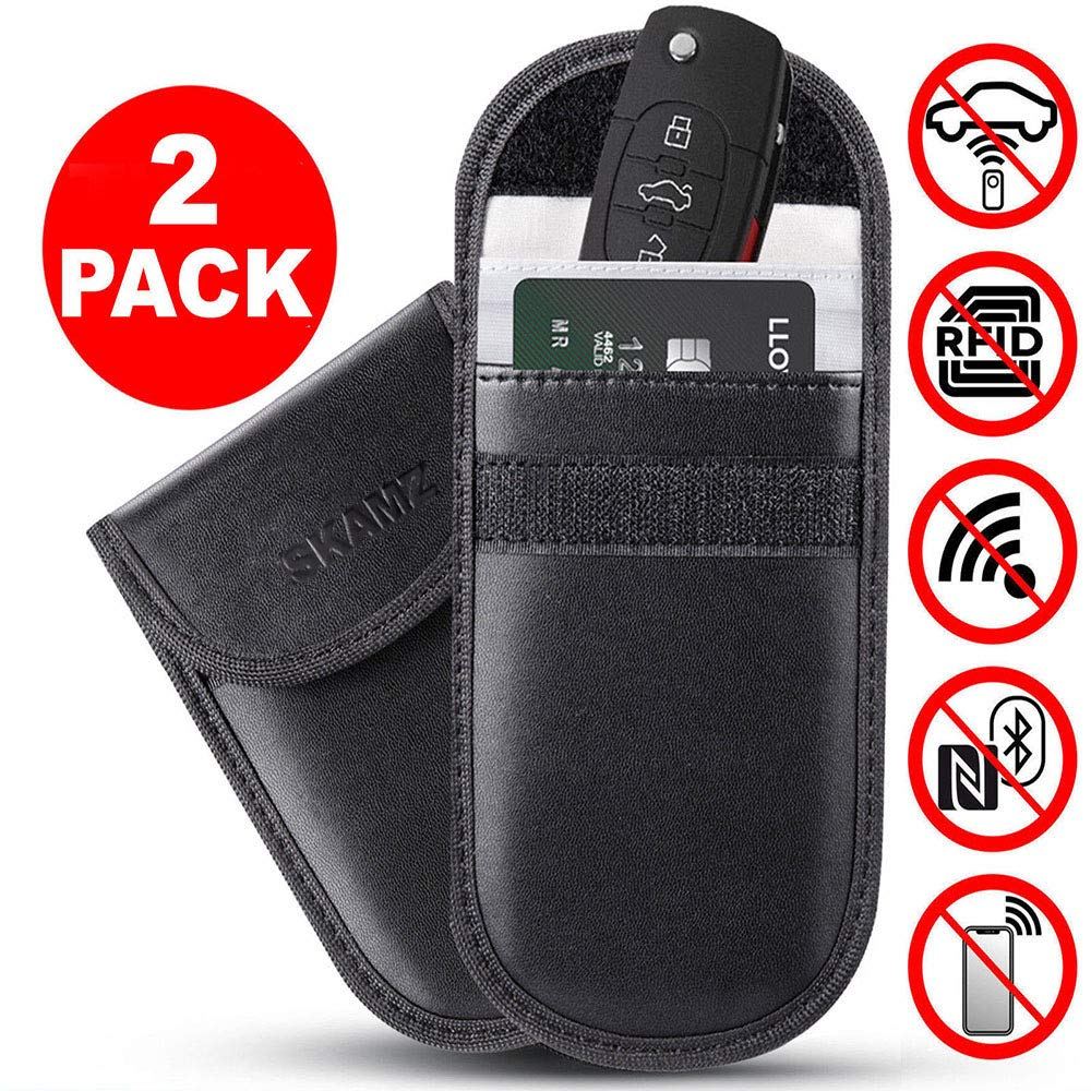 Car Key Signal Blocker Pouch Faraday Bag Case Pouch for Key Less Entry Car Fobs Black Pack of 2 Anti Theft Faraday Pouch Protector Wallet for Car Keys Credit Cards Block Signal RFID//WiFi//NFC