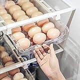 Egg Holder For Refrigerator,Refrigerator Organizer Drawer for Eggs, Pull Out Fridge Drawer Organizers Fridge Shelf Holder Sto