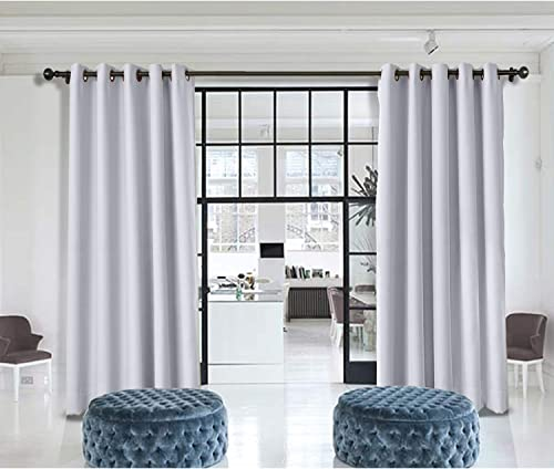 Macochico Extra Wide Room Divider Curtains Greyish White Thermal Insulated Home Decorations Blackout Privacy Curtain