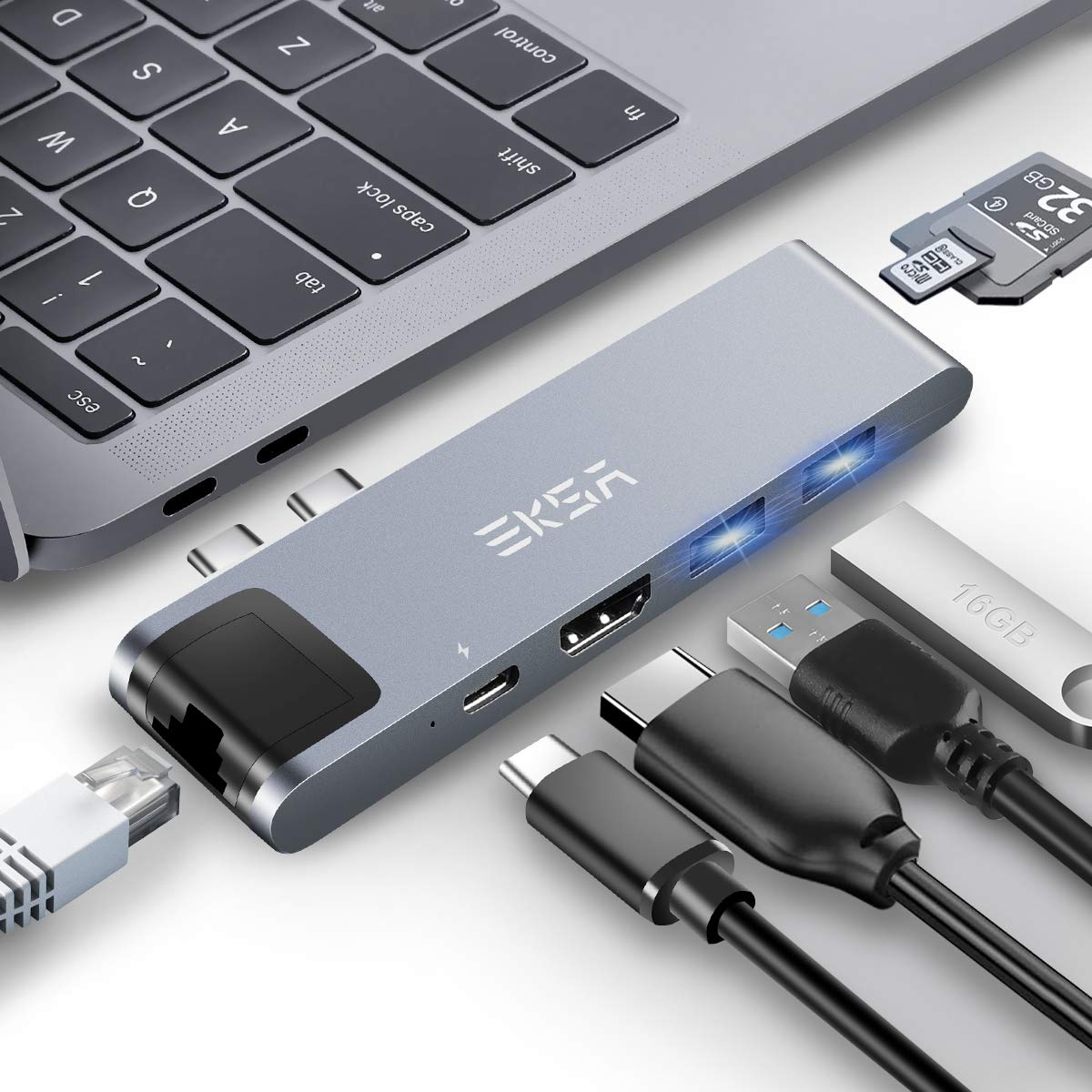 Thunderbolt 3 hub, EKSA 7 in 1 Dual USB C Hub for MacBook Pro 2016/2017/2018 13'' and 15'', MacBook Air 2018 Adapter with 4K USB C to HDMI, 100W Power Delivery, Ethernet Port,2xUSB3.0,SD/TF Card Reader