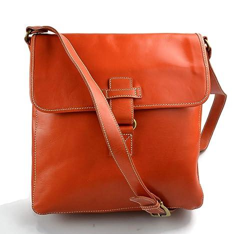 Borsello pelle arancione a tracolla uomo donna borsa