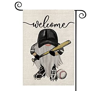 AVOIN Baseball Welcome Gnome Garden Flag Vertical Double Sided, Bat Ball Sport Flag Yard Outdoor Decoration 12.5 x 18 Inch