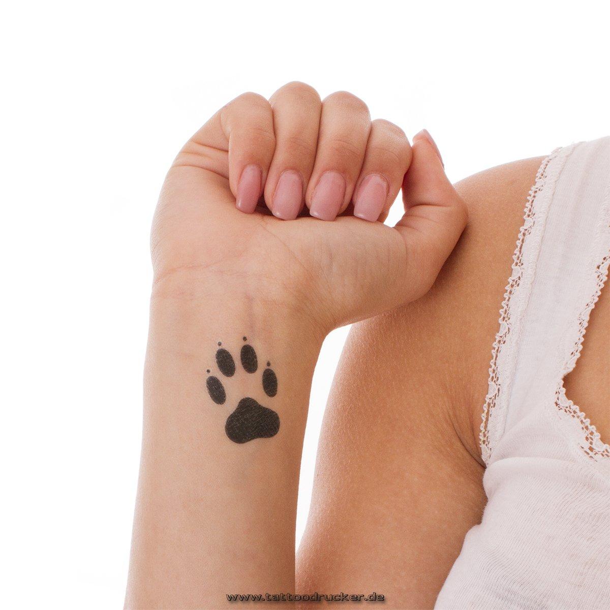 5 x pequeñas patas tatuajes - patas temporal tatuajes una vez en negro (5): Amazon.es: Belleza