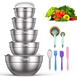 Mixing Bowls with Airtight Lids - Wildone 19 Piece Stainless Steel Nesting Bowls Set, BPA Free & Extra Deep, Size 5, 2.5, 2,