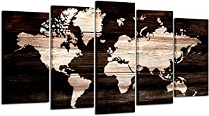 Kreative Arts - Modern Abstract Wall Art World Map Canvas Painting Vintage Style Picture Prints for Living Room Home Decor Ready to Hang 5pcs/Set (Large Size 60x32inch)