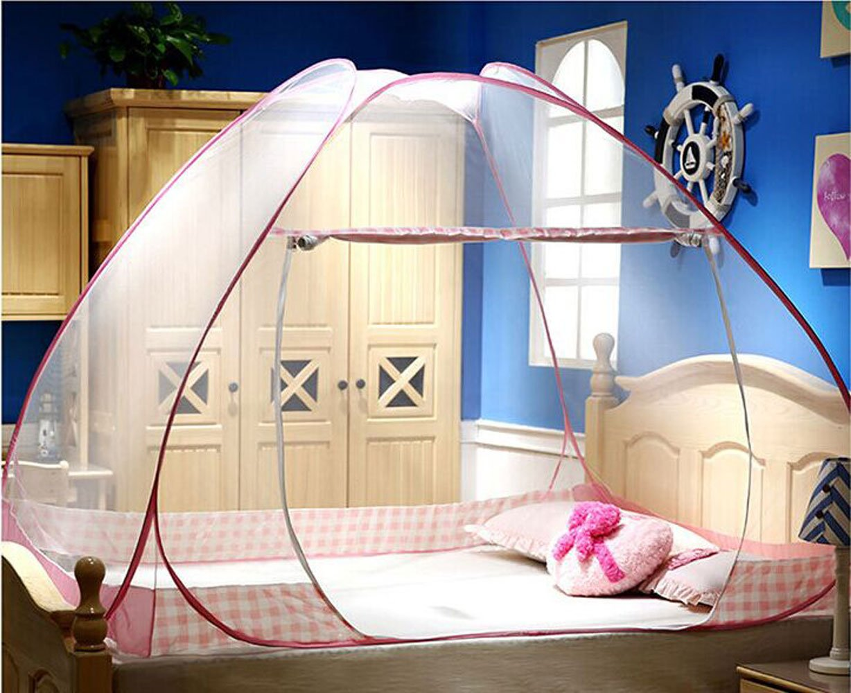 CdyBox Folding Mosquito Net Tent Canopy Curtains for Beds Home Bedroom Decor (1.8X2.0m, Pink) by CdyBox (Image #2)