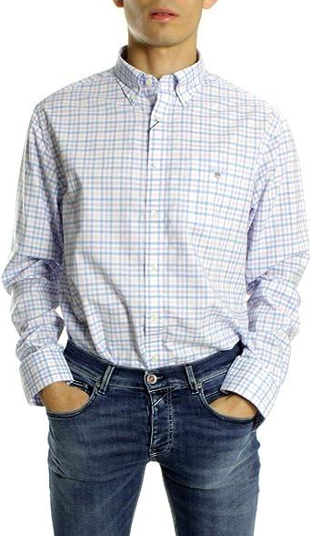 GANT Camisa Cuadros Azules y Rosa: Amazon.es: Ropa y accesorios
