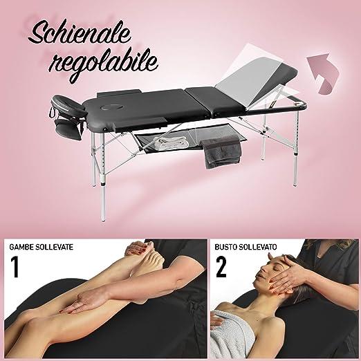 Camilla de masaje, 3 zonas, de aluminio, portátil y reclinable, con temporizador y toallero incluidos, color negro: Amazon.es: Salud y cuidado personal