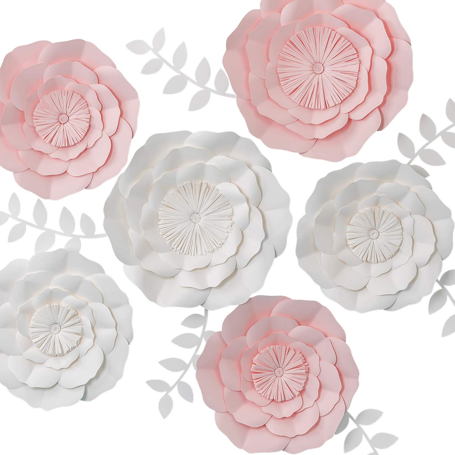 3D Paper Flower Decorations, Giant Paper Flowers, Large Handcrafted Paper Flowers (Pink, White, Set of 6 NO Need Assemble) for Wedding Backdrop, Bridal Shower, Wedding Centerpieces, Nursery Wall Decor