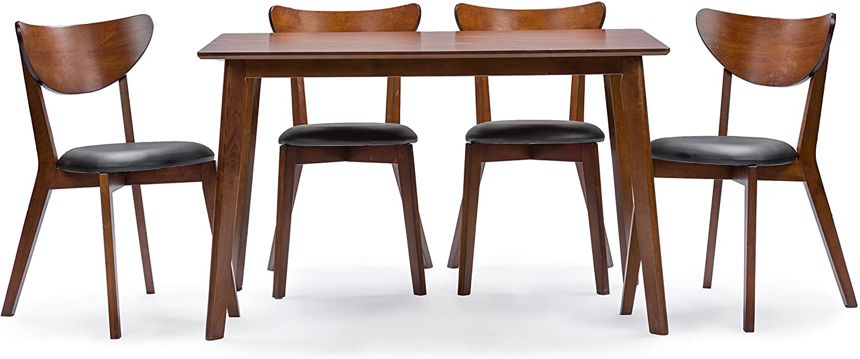 Baxton Studio Sumner Mid-Century Style 5 Piece Dining Set, Walnut Brown