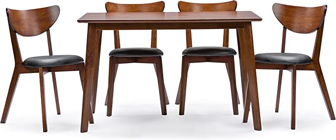 Baxton Studio Sumner Mid Century Style 5 Piece Dining Set Walnut Brown Table Chair Sets