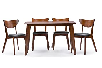 Charmant Baxton Studio Sumner Mid Century Style 5 Piece Dining Set, Walnut Brown