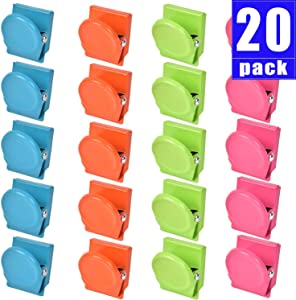 20 Pack Magnetic Clips, Magnetic Metal Clips, Refrigerator Whiteboard Wall Fridge Magnetic Memo Note Clips Magnets Metal Clip
