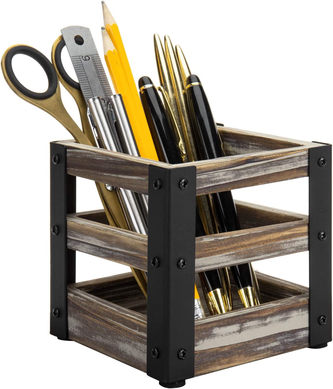 MyGift Rustic Torched Wood and Industrial Black Metal Pen/Pencil Holder Storage Cup, Office Desk Stationary Organizer Bin