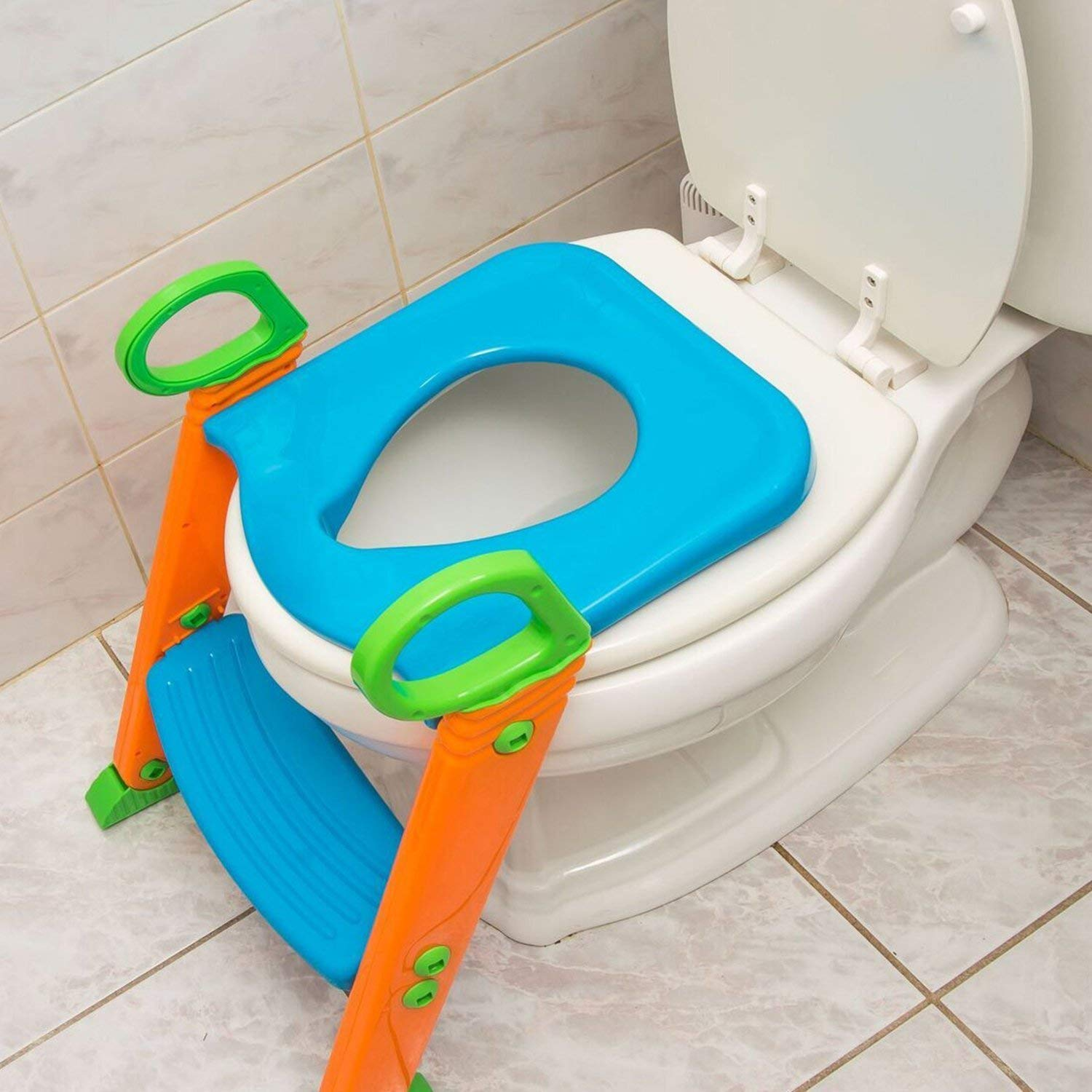 Potty Toilet Seat with Step Stool ladder, (3 in 1) Trainer for Kids Toddlers W/ Handles. Sturdy, Comfortable, Safe, Built In Non-Slip Steps W/ Anti-Slip Pads. Excellent Potty Seat Step Boys Girls Baby by Alayna (Image #6)