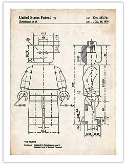 Amazon lego figure patent new famous invention blueprint steves poster store lego minifigure 1979 patent art print 5 malvernweather Gallery