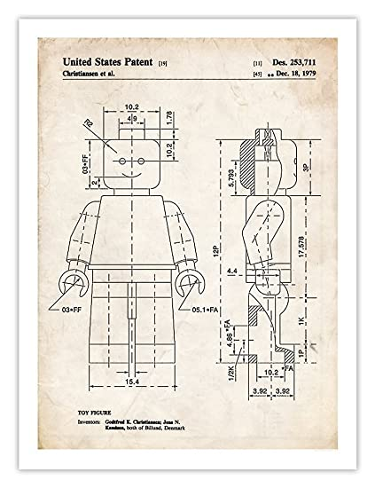 Amazon.com: Steves Poster Store LEGO MINIFIGURE 1979 Patent Art ...