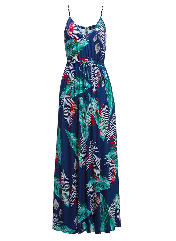 572145cff2 Amazon.com  HUSKARY Womens Sleeveless V Neck Spaghetti Strap Pockets Floral  Print Beach Boho Tropical Summer Maxi Dress  Clothing