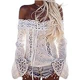 Mujer Camiseta, ❤️Ba Zha HeiLas Mujeres Atractivas del Escote Redondo con Blanco Bordado Flores