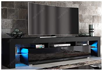 Modern Tv Unit 200cm Cabinet Black Matt And Black High Amazoncouk
