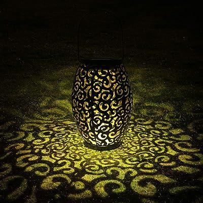 Tomshine Solar Lantern Lights Hanging Lamp Outdoor LED Solar Light Pathway Mental Waterproof for Patio Courtyard Garden