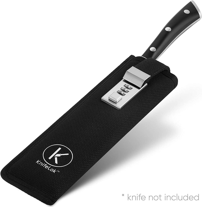 Knifelok - Estuche para cuchillos de chef con cerradura de combinación - Soporte de tela de calidad premium para cuchillos de cocina de 6 – 8 pulgadas con protector interior de hoja