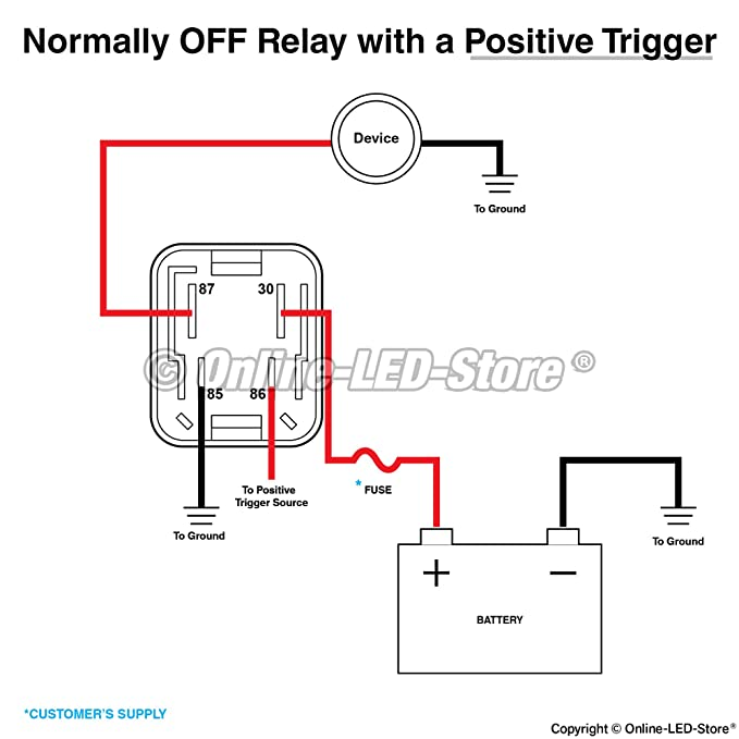 Amazon Online Led Store Rtt7121a 12v 40a 4pin Relay Direct Rhamazon: Relay Wiring Diagram 4 Pole At Gmaili.net