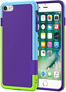i8 Phone Case Matte Compatible with Apple iPhone 7/8 Cases Silicone Credit Card Slot iPhone7 iPhone8 i7 Stitching Hit Color Cover Ultra Thin Slim Protective Bumper 4.7 inch (Purple)
