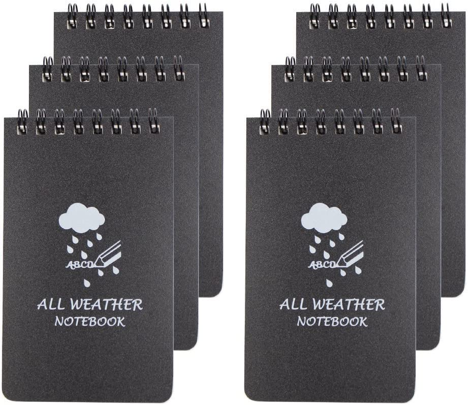 MMBOX All Weather Notebook - Set 6bloc de notas, diseño impermeable para bolsillo, color negro 3 x 5 Inch