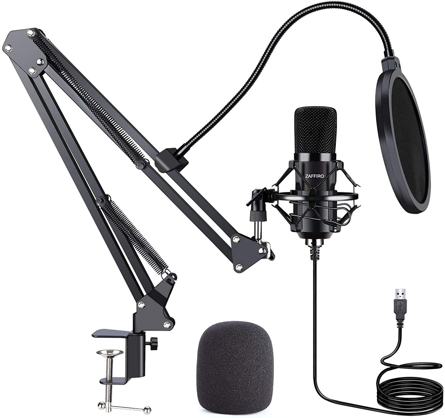 USB Streaming Podcast PC Microphone Computer Cardioid Condenser Microphones Kit with Boom Arm for Vocal Instrument Recording Gaming YouTube Karaoke, Studio Mic Compatible with Mac Laptop Desktop