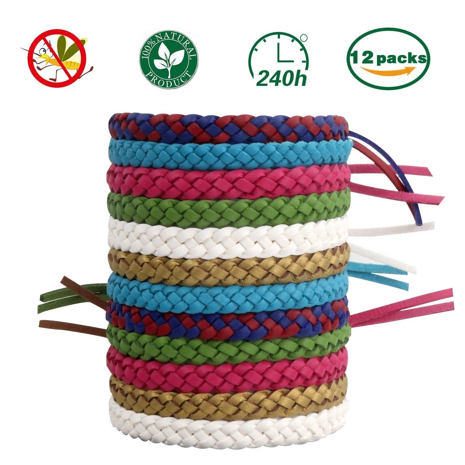 CXKB Mosquito Repellent Bracelet, Leather Mosquito Braided Bracelet, 100% Natural, Adjustable, Waterproof, Suitable for Children, Adults and Pets Camping, Barbecue, Travel - 12 Colors.