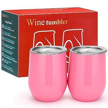 Vaso de acero inoxidable con tapa para vino, café, bebidas ...