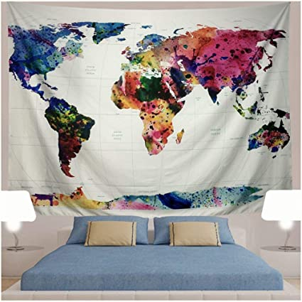 Amazon generleo world map tapestry wall hanging vintage generleo world map tapestry wall hanging vintage watercolor colorful tapestry retro hippie tapestry for bedroom home gumiabroncs Images