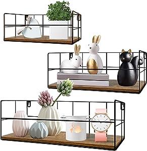 HORLIMER Wall Mounted Floating Shelves Set of 3, Rustic Wood Wire Frame Hanging Shelf for Bathroom Bedroom Living Room Kitchen