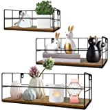 HORLIMER Wall Mounted Floating Shelves Set of 3, Rustic Wood Wire Frame Hanging Shelf for Bathroom Bedroom Living Room Kitche