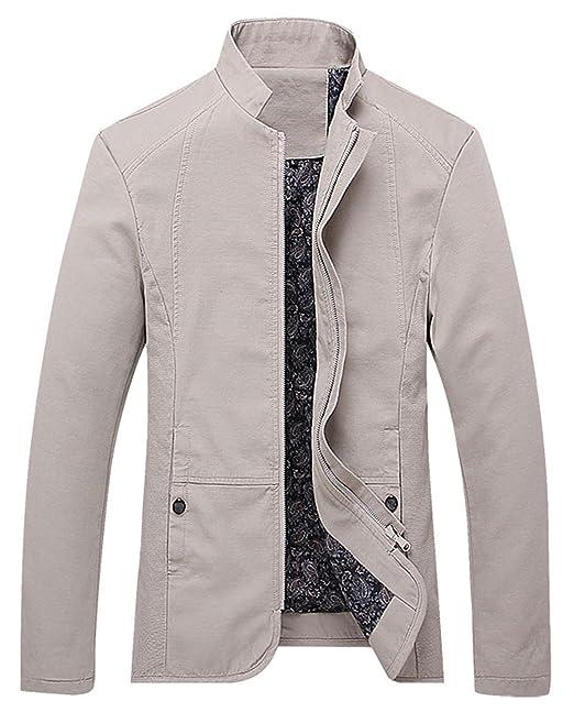 Amazon.com: chouyatou - Chaqueta casual de algodón con ...