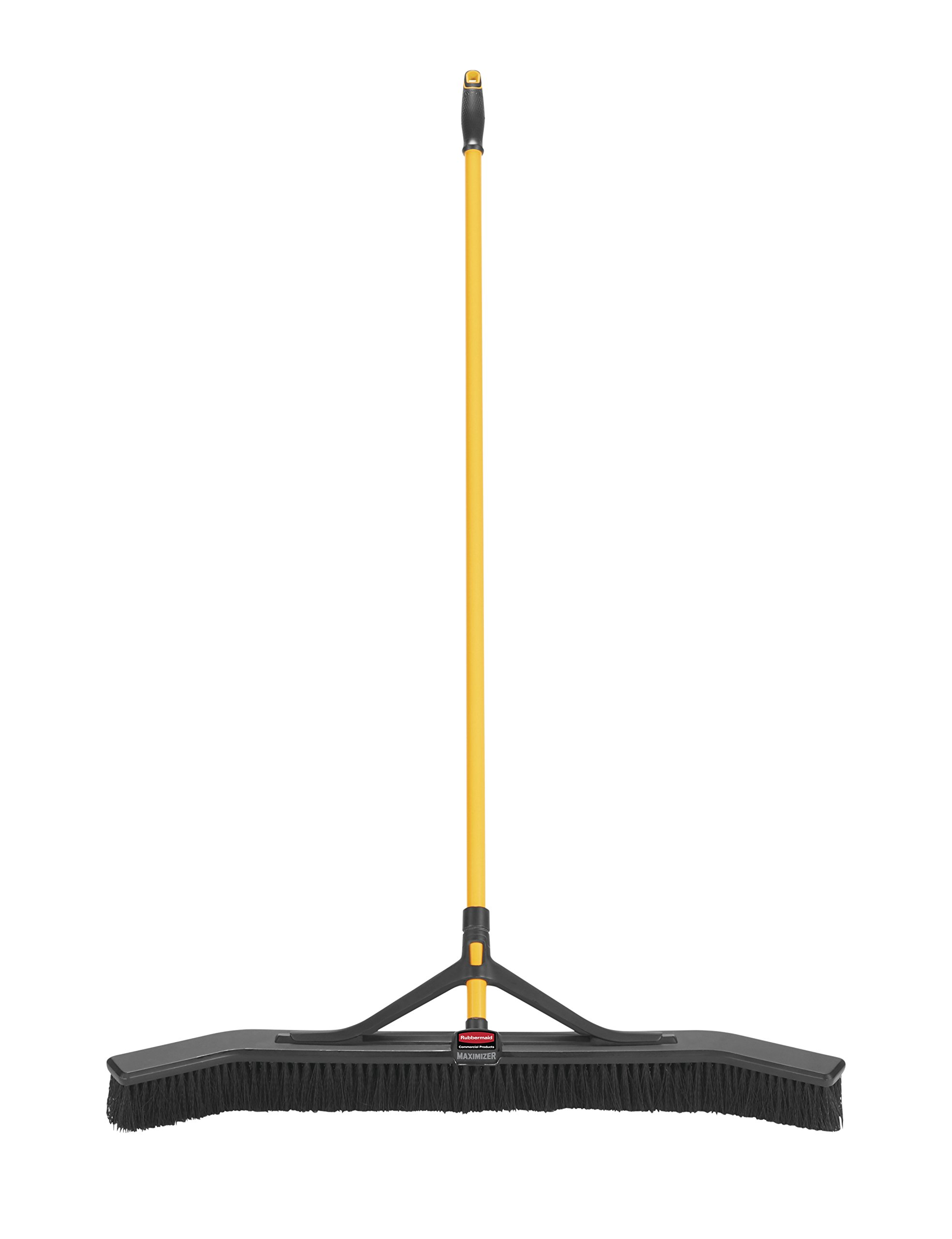 Rubbermaid Commercial Products Maximizer Push-to-Center Broom with Multi-Purpose Bristle, 36'' Wide, Black (2018728)