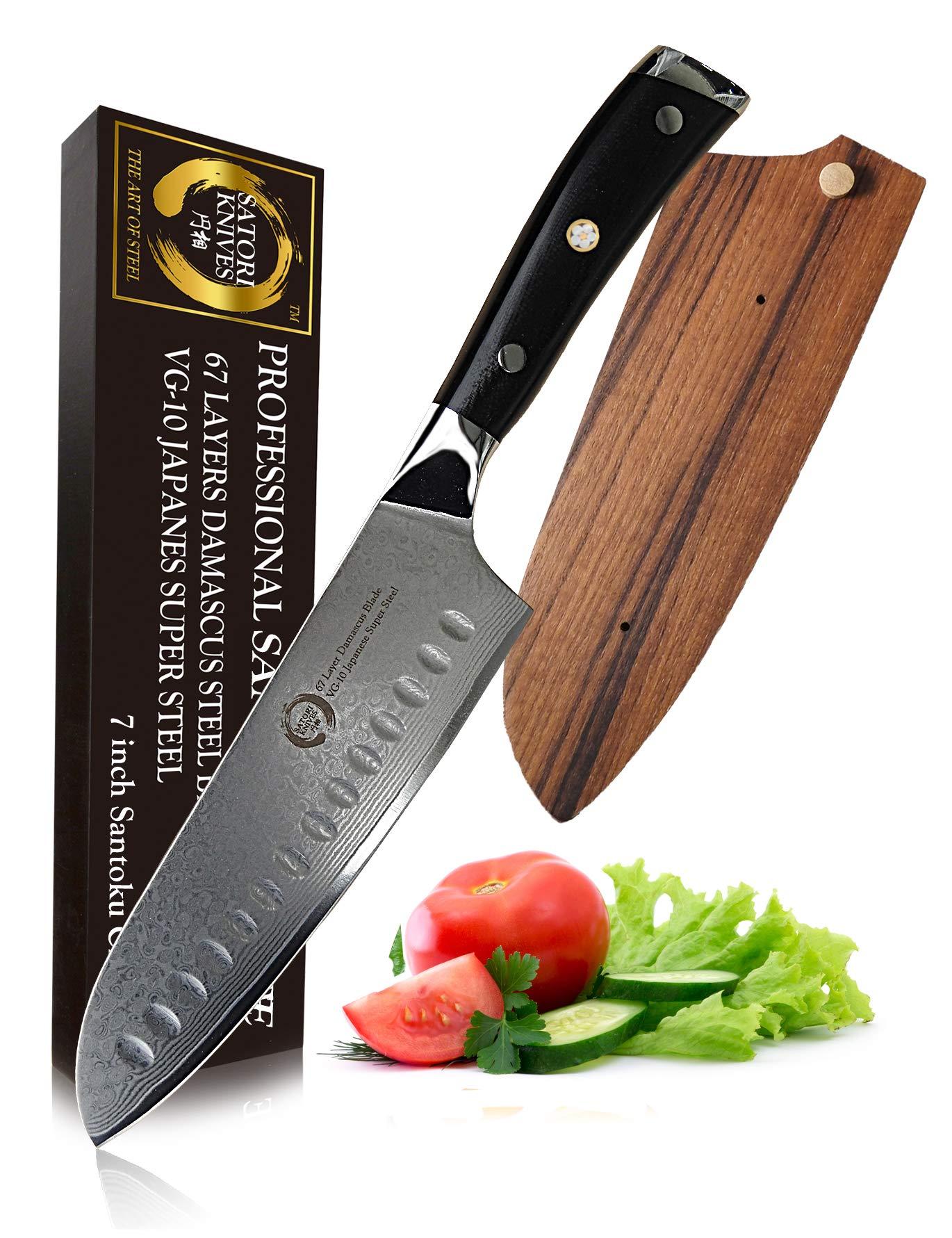 7'' Professional Santoku Chef's Knife By Koto Satori - 67 Layers Damascus Blade, Japanese VG-10 Super Steel Chef Knife, G10 Handle, Full Tang Custom Fit Teak Wood Knife Sheath, Gift Packaging.