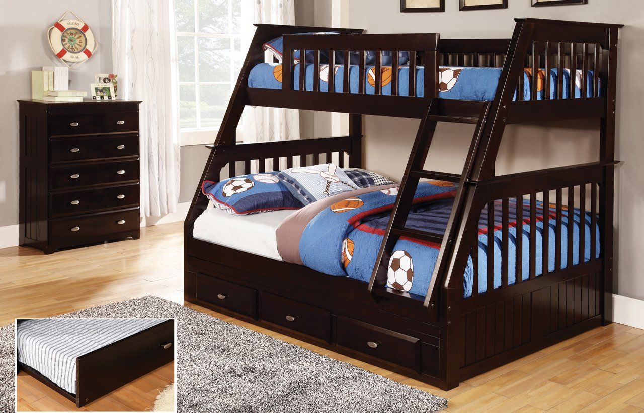 Twin Over Full Bunk Bed with 3 Drawers, Desk, Hutch and Chair in Espresso Finish