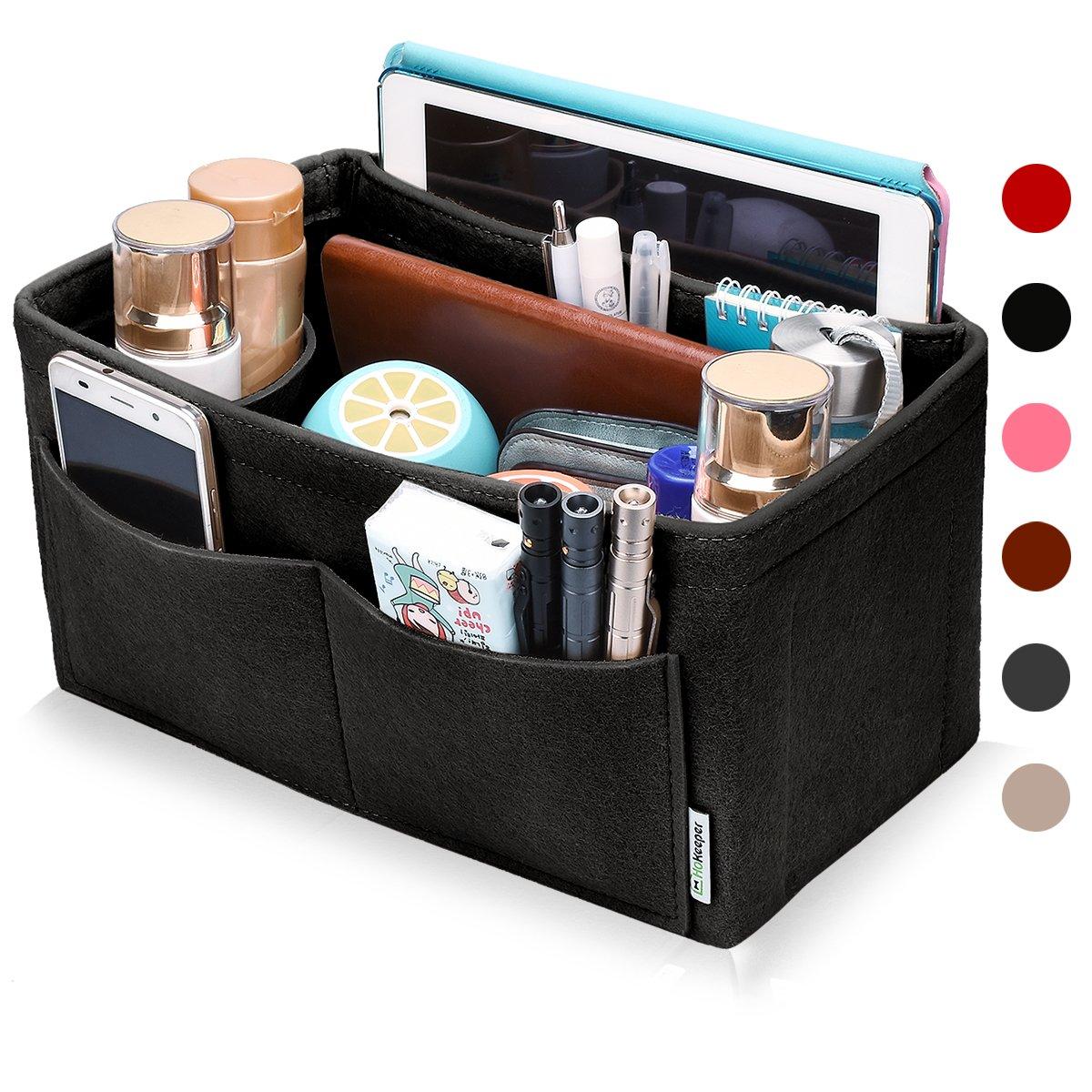 Hokeeper Felt Purse Insert Organizer, Handbag Organizer, Bag in Bag, Diaper Bag Organizer, Stand on Its Own,11 Compartments, 4 Sizes, 6 Colors (X-Large, Black)