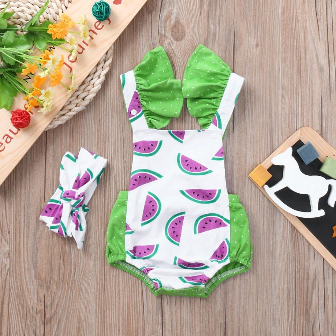 Headband Two Piece Outfit kaiCran Toddler Baby Girls Watermelon Print Strap Rompers Jumpsuit