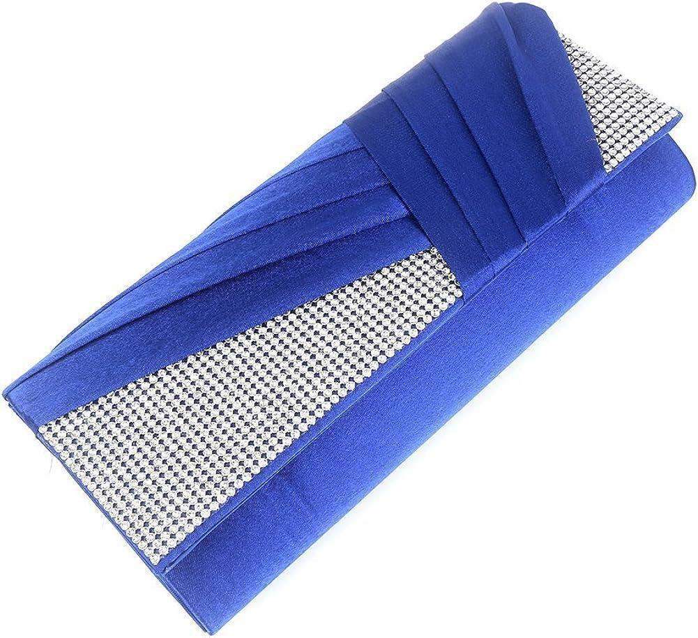 Navy Blue Clorislove Elegance Satin Rhinestone Wedding Prom Handbag Evening Clutch Bag