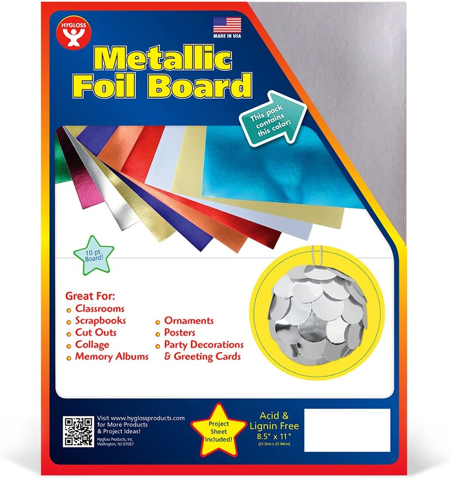 Hygloss Products Metallic Foil Board Sheets-8.5 x 11 Inches 100 Pack Red Copper