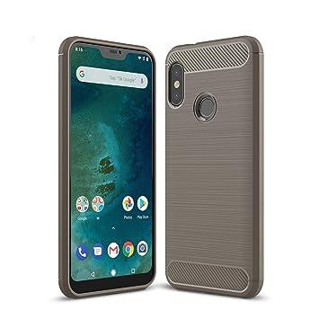 Anjoo Compatible para Funda Xiaomi Mi A2 Lite, Carcasa Mi A2 Lite Carbon Fibre Texture Suave y Flexible TPU Silicona Cases Parachoques Protectora para ...
