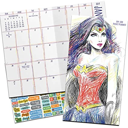 Wonder Woman Monthly Pocket Planner 2019-2020 with DateWorks Calendar Stickers (Two Year Wonder Woman Planner Calendar Set)