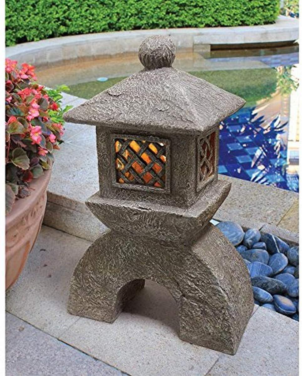 Design Toscano AL958699 Japanese Pagoda Illuminated Lantern Statue: Set of Two,greystone