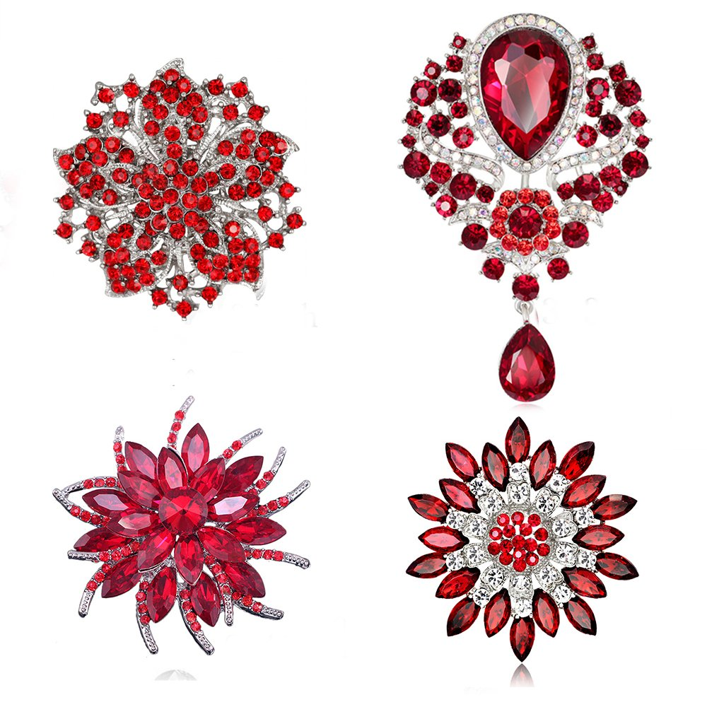 Ezing 4 Pieces Red Rhinestone Crystal Flower Brooch Lot with Big Pendant Pins Fashion Jewelry (Red)