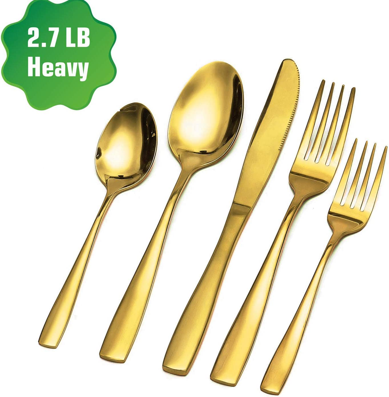 Zonegrace Gold Silverware Set,Mirror Finish 20-Piece Stainless Steel Flatware Cutlery Set,Kitchen Utensil Set Service for 4,Tableware Cutlery Set for Home Restaurant Wedding,Dishwasher Safe