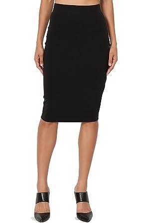 2505ff803f6 TheMogan Women s Stretch Cotton Elastic High Waist Pencil Midi Skirt Black S